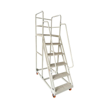 Knock Down Steel Movable Climbing Step Ladder Trolley