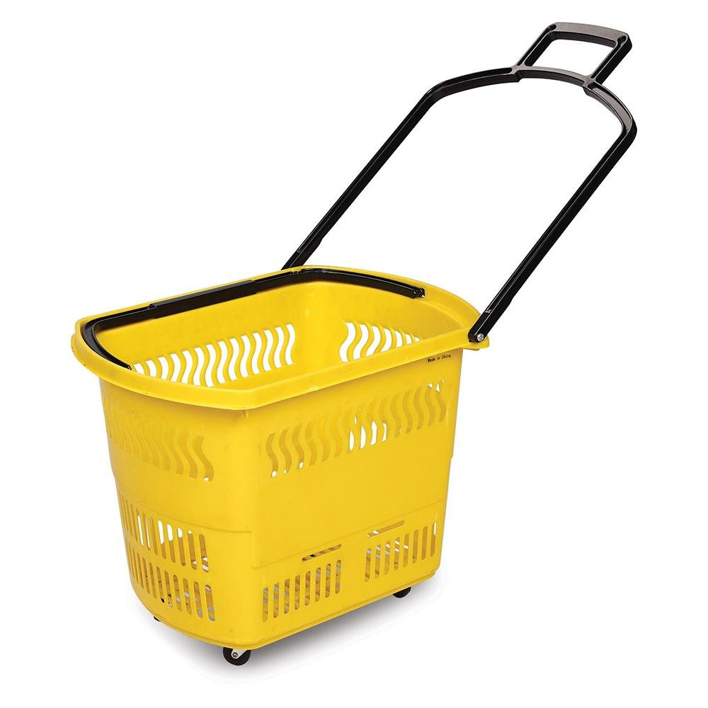 Double Pull Rod Trolley Shopping Basket with TPR Wheels