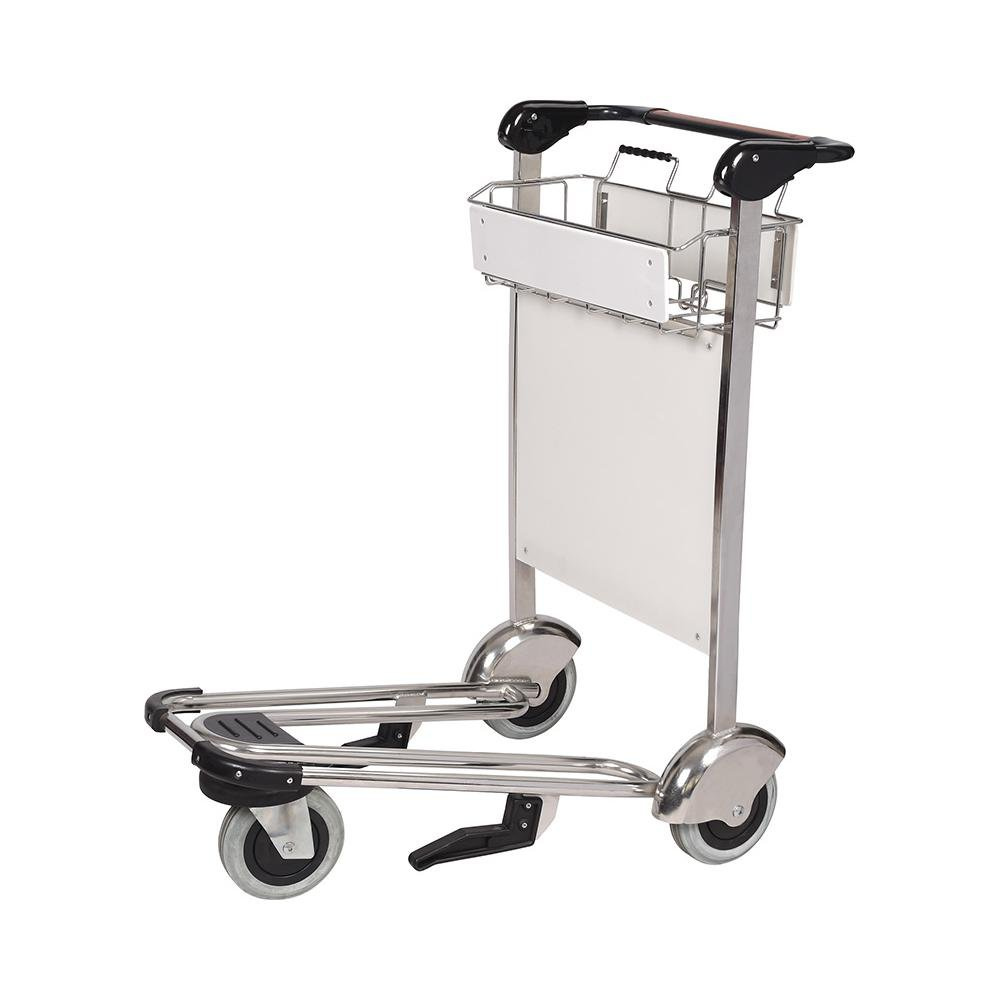 3 Wheels Aluminum Alloy Functional Airport Trolley Cart with Brake