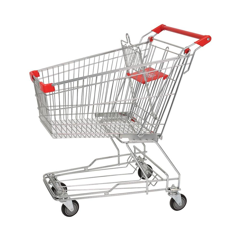 100L Asian Supermarket Retail Store Chromed Hand Trolley